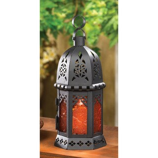 Zingz & Thingz Amber Glass Moroccan Lantern