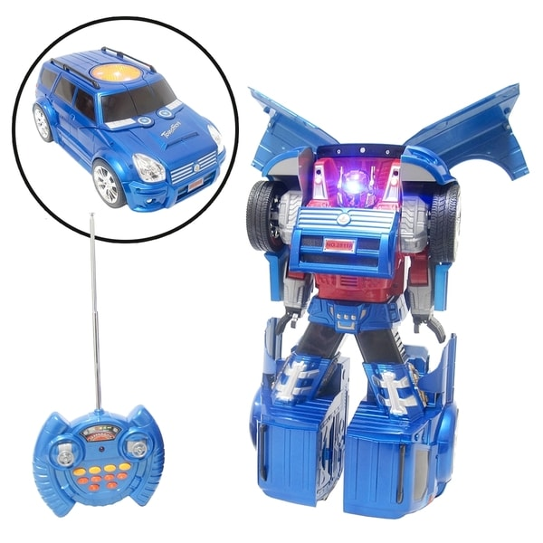 RC Transforming Robot with Light and Sound in Metallic Blue