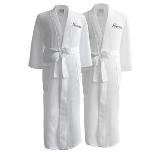 Conrad Egyptian Cotton Groom & Groom Waffle Spa Robe Set