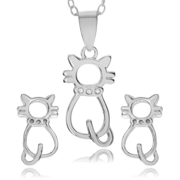 Journee Collection Sterling Silver Cat Necklace and Earring Set