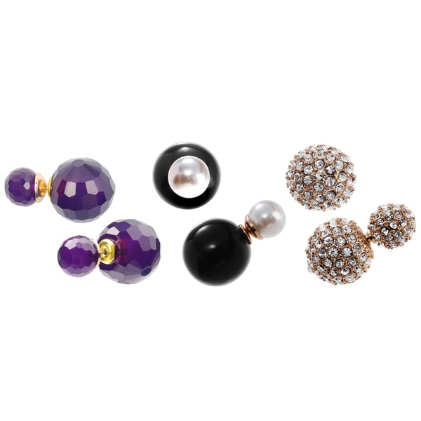 Journee Collection Pearl Cubic Zirconia Peekaboo Ball Stud 3-pair Earring Set 16371587