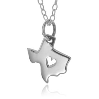Journee Collection Sterling Silver Texas with Heart Dainty Pendant