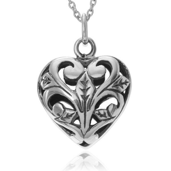 Journee Collection Sterling Silver Open Filigree Heart Pendant