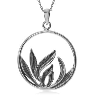 Journee Collection Sterling Silver Sweetgrass Circle Pendant