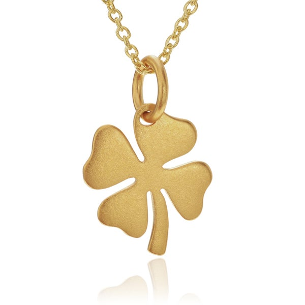 Journee Collection 24k Goldplated Sterling Silver Four Leaf Clover Pendant