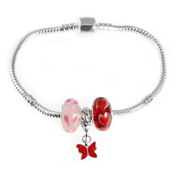 Red Butterfly Pink Red Lampork Heart Bead European Style Starter Charm Bracelet