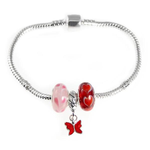 Red Butterfly Pink Red Lampwork Heart Bead European Style Starter Charm Bracelet