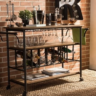 Bradford Rustic Industrial Style Antique Black Textured Finish Metal Distressed Wood Mobile Kitchen Bar Serving Wine Cart
