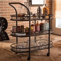 Baxton Studio Karlin Rustic Industrial Mobile Kitchen Bar Wine Serving Cart with Textured Antique Black Metal, Distressed Wood