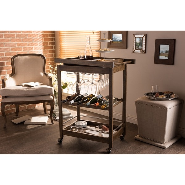 Hannah Brown Finish Rubberwood Serving Bar Cart with Built-in Wine Rack and Wine Glass Holders