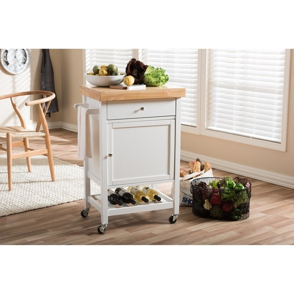 Fermont Modern and Contemporary Thick Wood Top Rolling Kitchen Cart with Towel Rack and Built-in Wine Rack