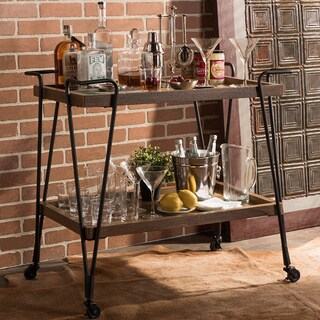 Baxton Studio Alera Industrial Ash Wood Mobile Serving Bar Cart