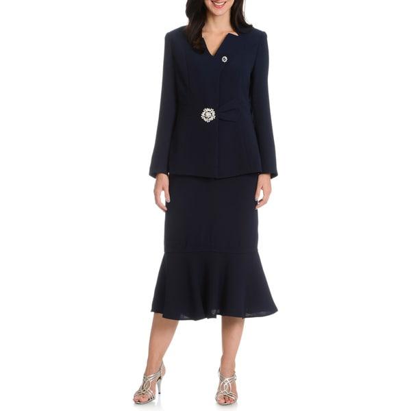 Giovanna Signature Women's 2-Piece Mandarin Collar, Colum Skirt Suit