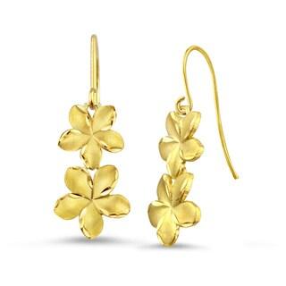 10k Yellow Gold Satin and Diamond-cut Plumeria Drop Earrings