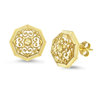 10k Yellow Gold Round Filigree Stud Earrings