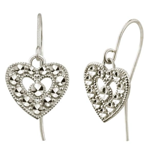 10k White Gold Diamond-cut Heart Dangle Earrings