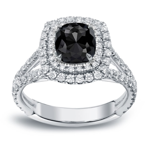 Auriya 18k White Gold 2ct TDW Cushion Cut Black Diamond Engagement Ring Blac