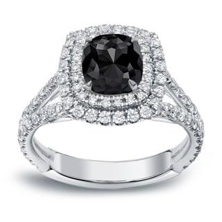 Auriya 18k White Gold 2ct TDW Cushion-Cut Black Diamond Engagement Ring (Black, SI1-SI2)