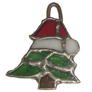Stained Glass Santa Hat Tree Christmas Ornament