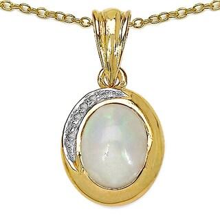 Malaika .925 Sterling Silver 1.29 Carat Genuine Ethiopian Opal & White Topaz 14K Yellow Gold Plated Pendant