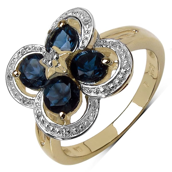 Olivia Leone .925 Sterling Silver 1.76 Carat Genuine London Blue Topaz and White Topaz 14K Yellow Gold Pl