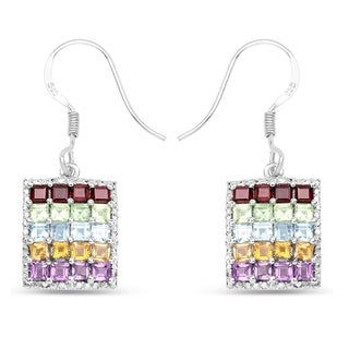 Olivia Leone .925 Sterling Silver 4.32 Carat Genuine Multi Stones Earrings