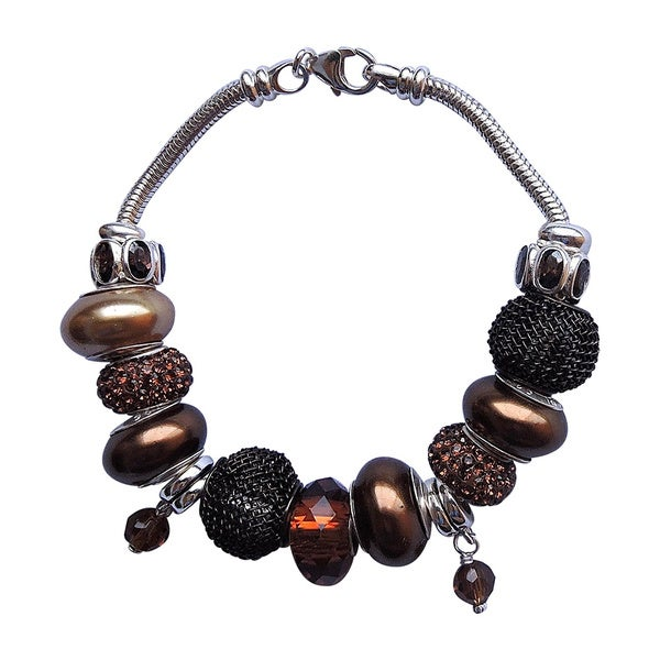 Sterling Silver Dark Chocolate Pearl and Bead Bracelet (7-8mm) 16372708