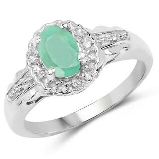Malaika .925 Sterling Silver 0.76 Carat Genuine Emerald & White Topaz Ring