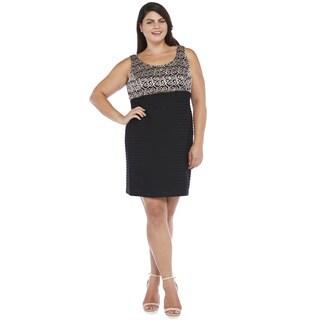 R&M Richards Women's Plus Size Lace Shutter Short Dress