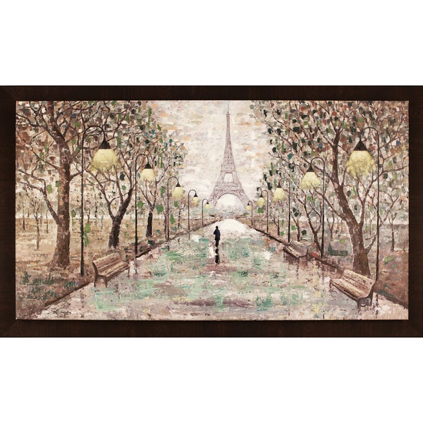"Walk To Eiffel Tower 35.5X59.5"" Framed Oil Wall Art"