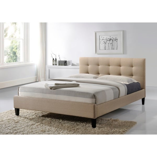 Queen Size Tufted Beige Fabric Upholstered Platform Contemporary Bed