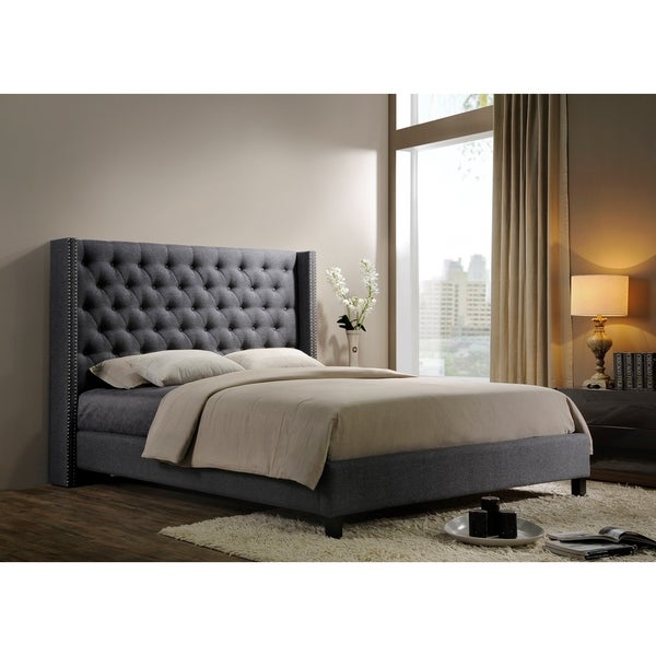 Altos Home Pacifica King-size Tufted Grey Fabric Upholstered Platform Contemporary Bed
