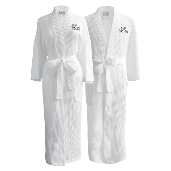 Conrad Egyptian Cotton His & Hers Waffle Spa Robe Set