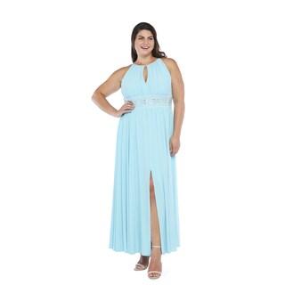 R&M Richards Women's Plus Size Bead Waist Gown