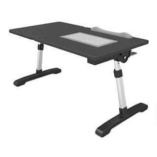 Adjustable Computer Desk with Fan, Hub & Light