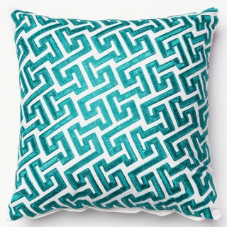 Embroidered Geometric Fretwork Down Feather or Polyester Filled 18-inch Throw Pillow or Pillow Cover