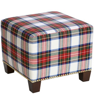 Skyline Furniture Square Nail Button Ottoman in Stewart Dress Multi