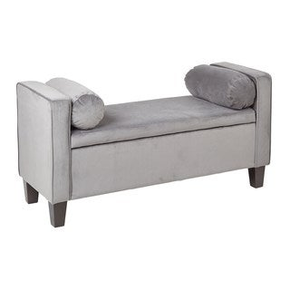 Bassett Cordoba Storage Bench with Pillows in Charcoal Velvet Fabric