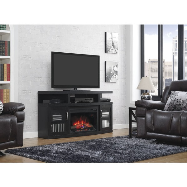 "ClassicFlame 85750 Cantilever TV Stand for TVs up to 65"" with 26"" Electric Fireplace"