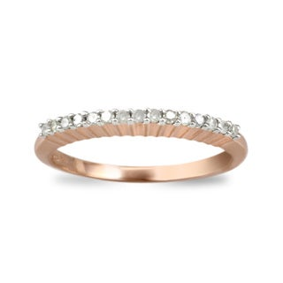 Pink Plated Sterling Silver 0.15ct TDW Diamond Band Ring
