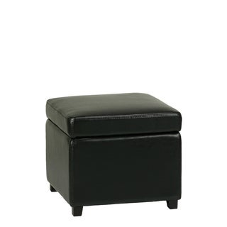 Cortesi Home Massimo Bonded Leather Storage Ottoman with Hinged Top, Jet Black