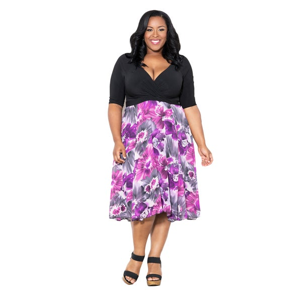 Sealed with a Kiss Women's Plus Size 'Diana' V-Neck Dress