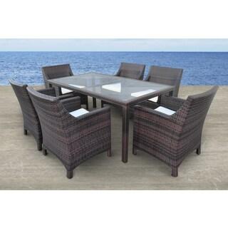 Solis Vespera Outdoor Brown 7-piece Wicker Rattan Patio Dining Set
