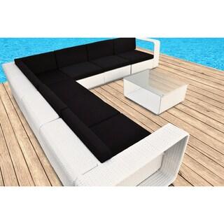 Solis Cristallo Sectional Outdoor Deep Seated White 8-piece Wicker Rattan Patio Set