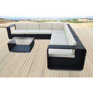 Solis Cristallo Sectional Outdoor Deep Seated Black 8-piece Wicker Rattan Patio Set