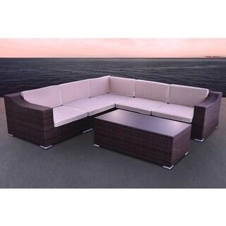 Solis San Mateo Sectional Outdoor Deep Seated Brown 6-piece Wicker Rattan Patio Set