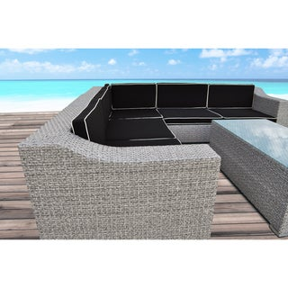 Solis San Mateo Sectional Outdoor Deep Seated Cement Grey 6-piece Wicker Rattan Patio Set
