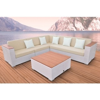 Solis Majestic Sectional Outdoor Deep Seated White 5-piece Wicker Rattan Patio Set