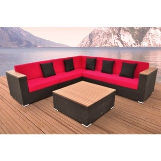 Solis Majestic Sectional Outdoor Deep Seated Brown 5-piece Wicker Rattan Patio Set