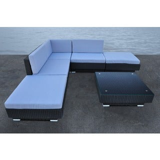 SOLIS Cavalli 6-piece Black Wicker Rattan Deep Seated Outdoor Sectional Patio Set with Beige Cushions
